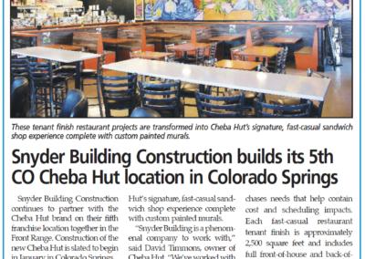 Snyder Building Construction builds its 5th CO Cheba Hut location in Colorado Springs