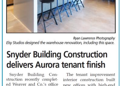 Snyder Building Construction delivers Aurora tenant finish