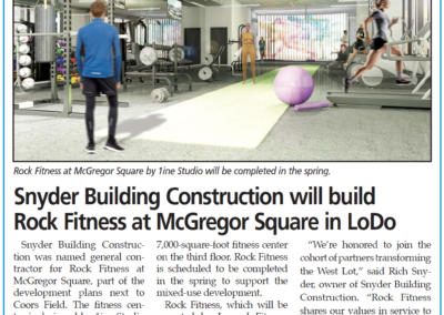 Snyder Building Construction will build Rock Fitness at McGregor Square in LoDo