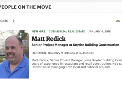 Matt Redick Joins Snyder Building Construction as Senior Project Manager