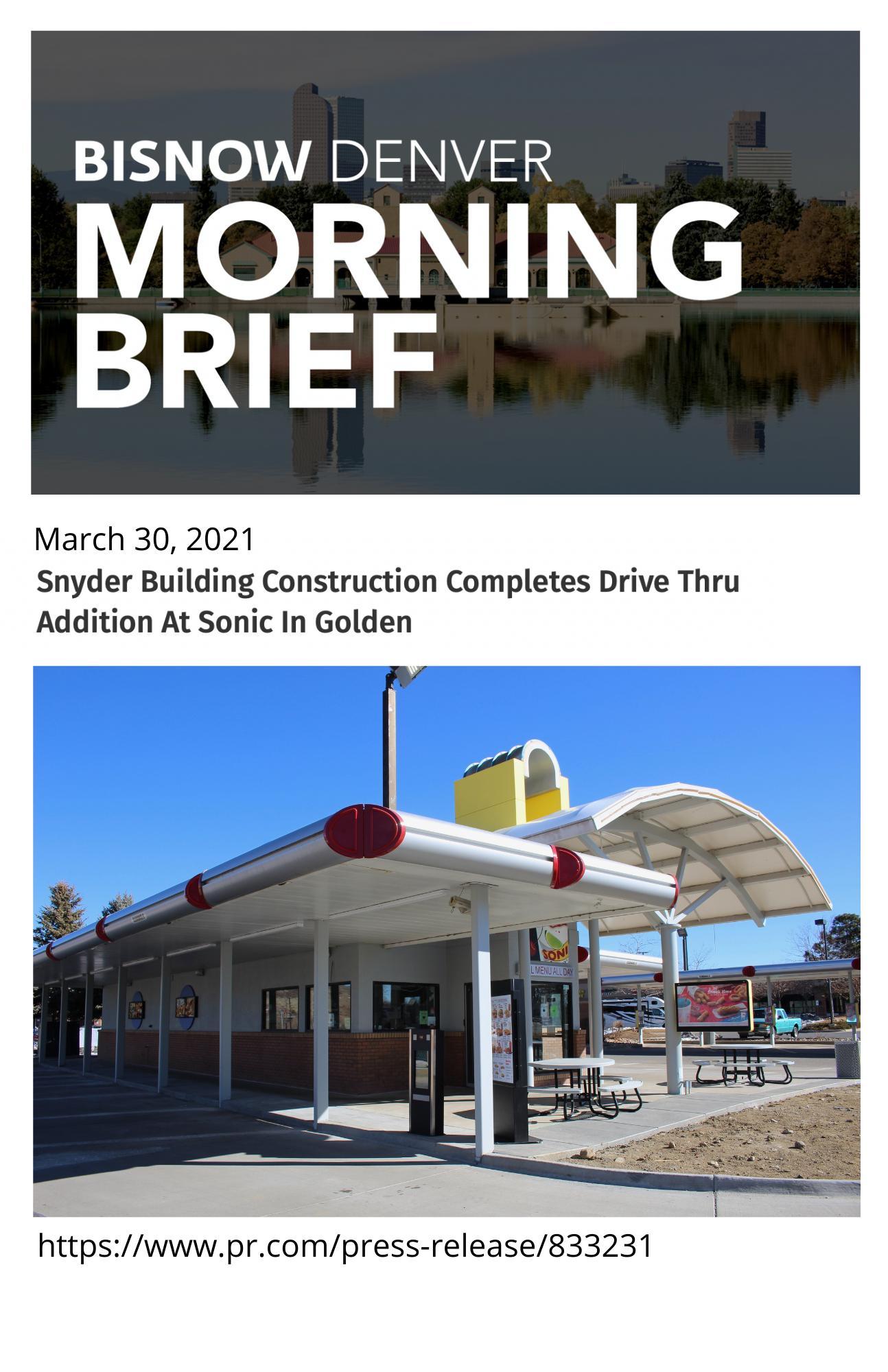 Snyder Building Construction Completes Sonic Drive Thru Addition