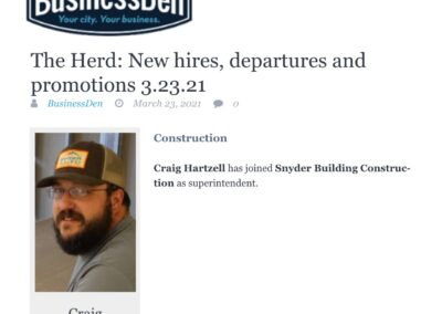 Craig Hartzell Hired as Superintendent at Snyder Building Construction