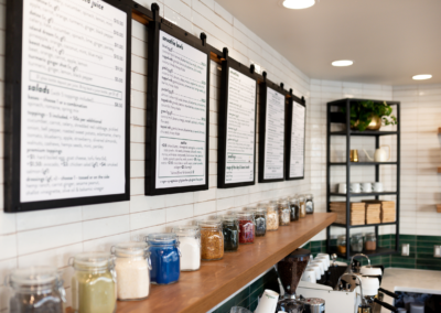 The Green Collective Eatery Menus - Built by Snyder Building Construction - Photo by Rosy Heart Photo